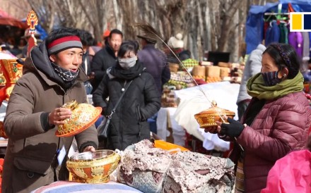 People living in Shigatse city in Tibet visited a traditional market to prepare for Tibetan New Year celebrations, taking place on February 5 in 2019.