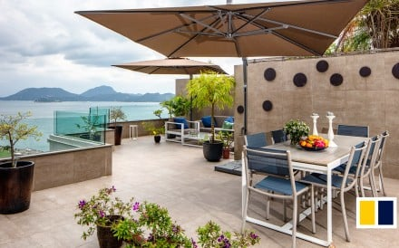 The expansive terrace of this apartment proved the clincher for a family in search of the perfect home.