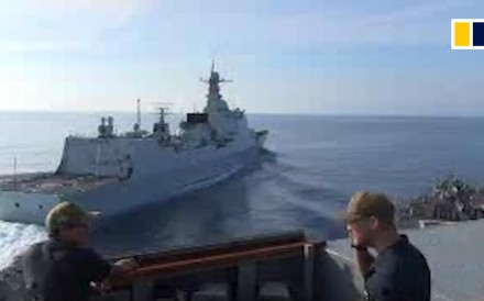 Video obtained by the South China Morning Post, through the British Defence Ministry, shows a near collision between an American warship and Chinese destroyer in the South China Sea on Sunday,...