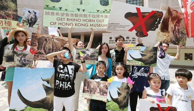 Protesters urge Hong Kong Museum of Art to remove ivory and rhino horn exhibits
