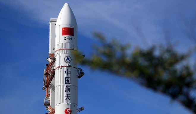 Long March-5 rocket at Wenchang Space Launch Center in southern Hainan province, days before its launch and demise.