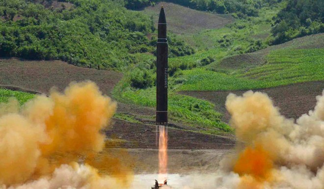 The purported launch of a North Korean ICBM in July 2017. The US wants 'complete, verifiable and irreversible denuclearization.'