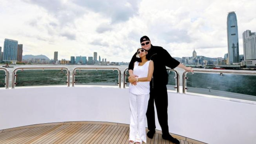 Mr and Mrs Dotcom tie the knot at secret wedding location