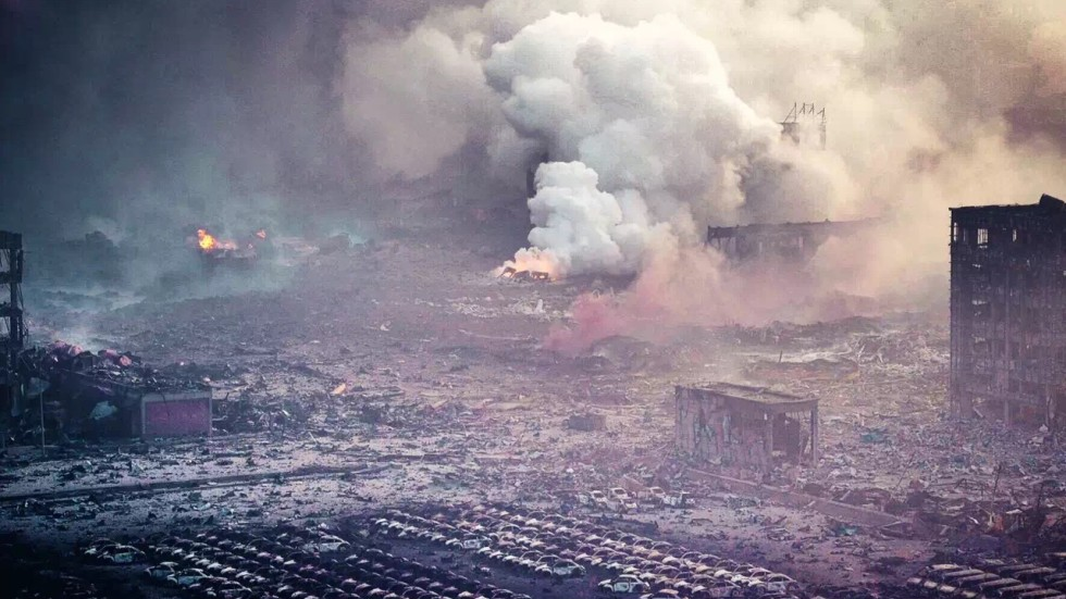 Taking on the look of a war zone or apocalyptic film, the gutted remains of an industrial area in Tianjin, China. Photo: Beijing Youth Daily