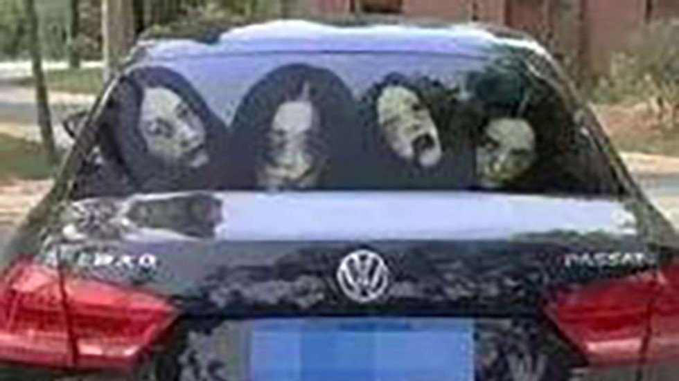 Chinese drivers use ghost decals to scare others off using full beam headlights