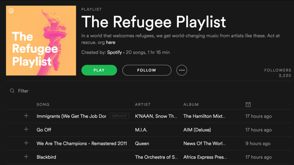 Spotifys new refugee themed playlist is being criticised by some business insider malvernweather Gallery