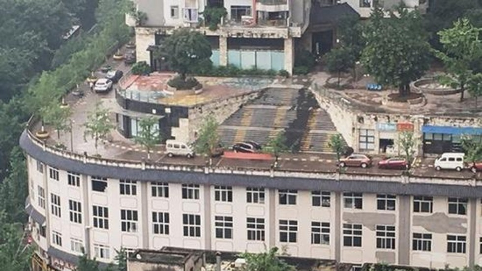 Apartment Building Roof road on a roof the latest addition to china's city of odd
