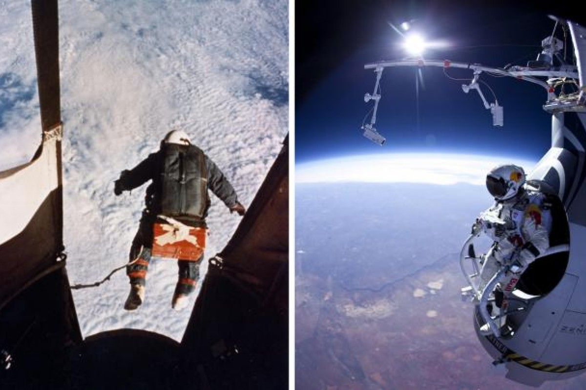 Left: Joseph Kittinger steps off a balloon-supported gondola at an altitude of 31 kilometres in 1960. Right: Baumgartner prepares to jump during the first manned test flight for Red Bull Stratos over New Mexico on March 15. Photos: AP