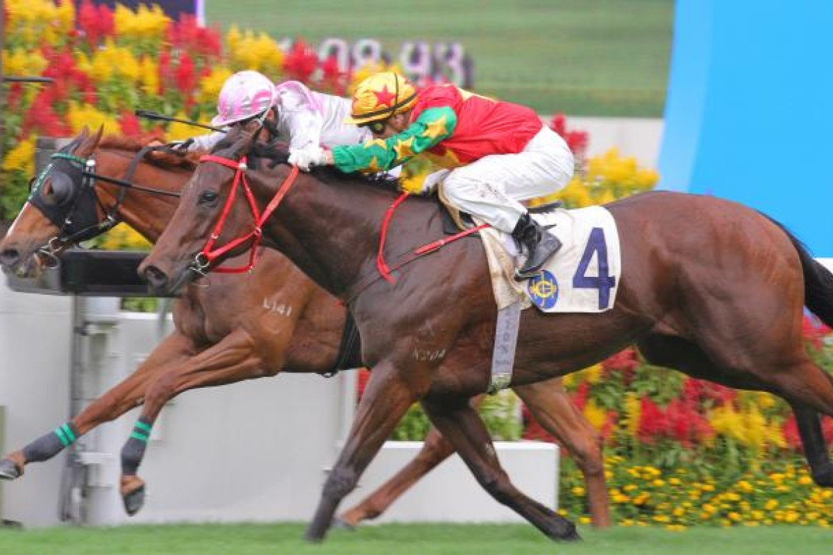 Supreme Win and Zac Purton win the Chief Executive's Cup, beating Cherise Cherry (Richard Fourie) at Sha Tin today. Photo: Kenneth Chan