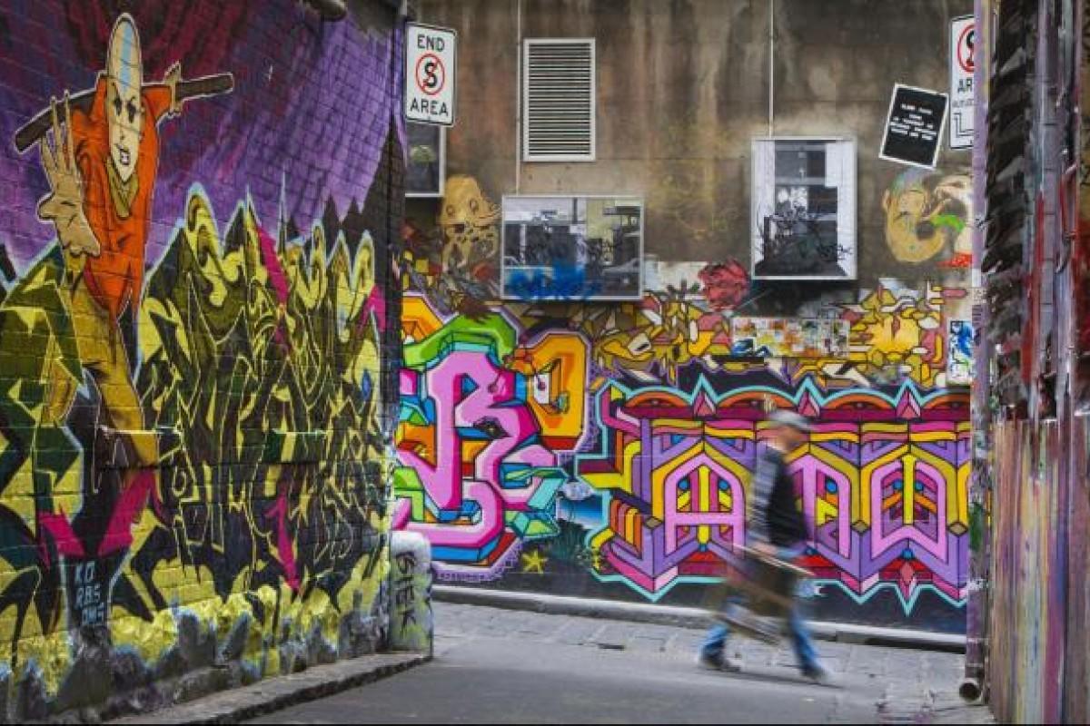 Graffiti in Hosier Lane, Melbourne. Photos: Corbis; AFP