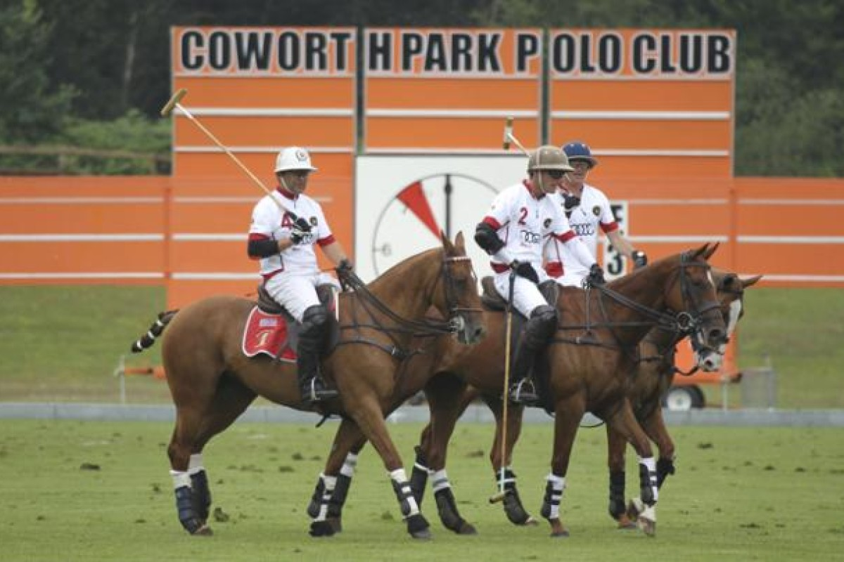The British team go through the motions at Coworth Park– the only hotel in Britain to have its own polo fields.