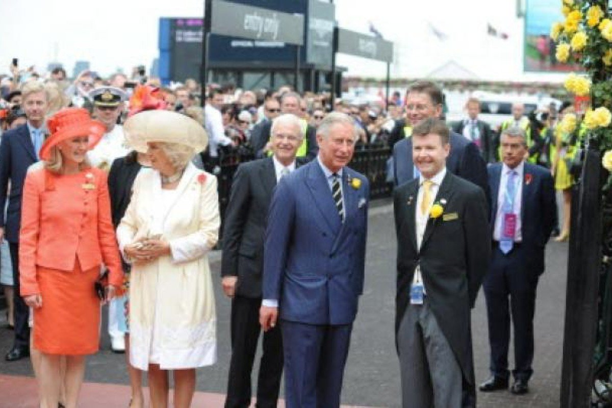 Charles, Prince of Wales (centre) and Camilla, Duchess of Cornwell (2nd left) arrive at the Melbourne Cup in Melbourne. Photo: EPA