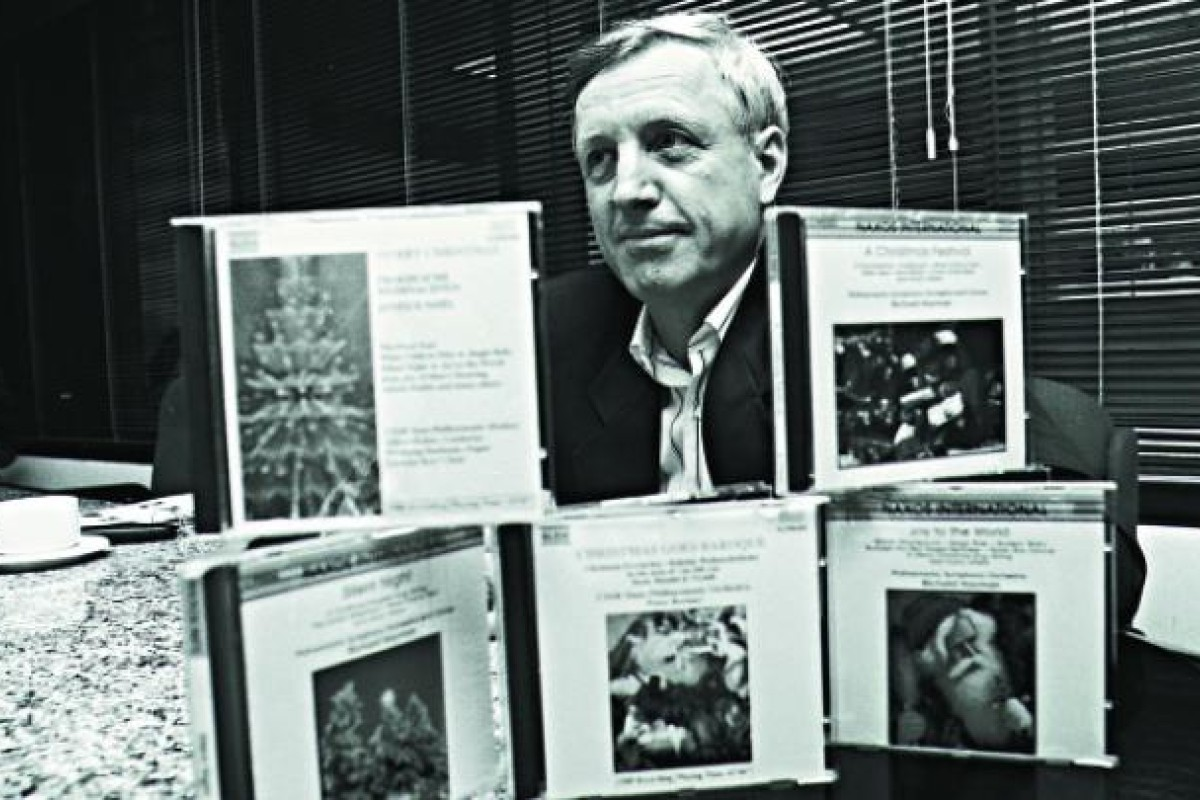 Heymann with his budding library of East European orchestral music in 1990. Photo: SCMP