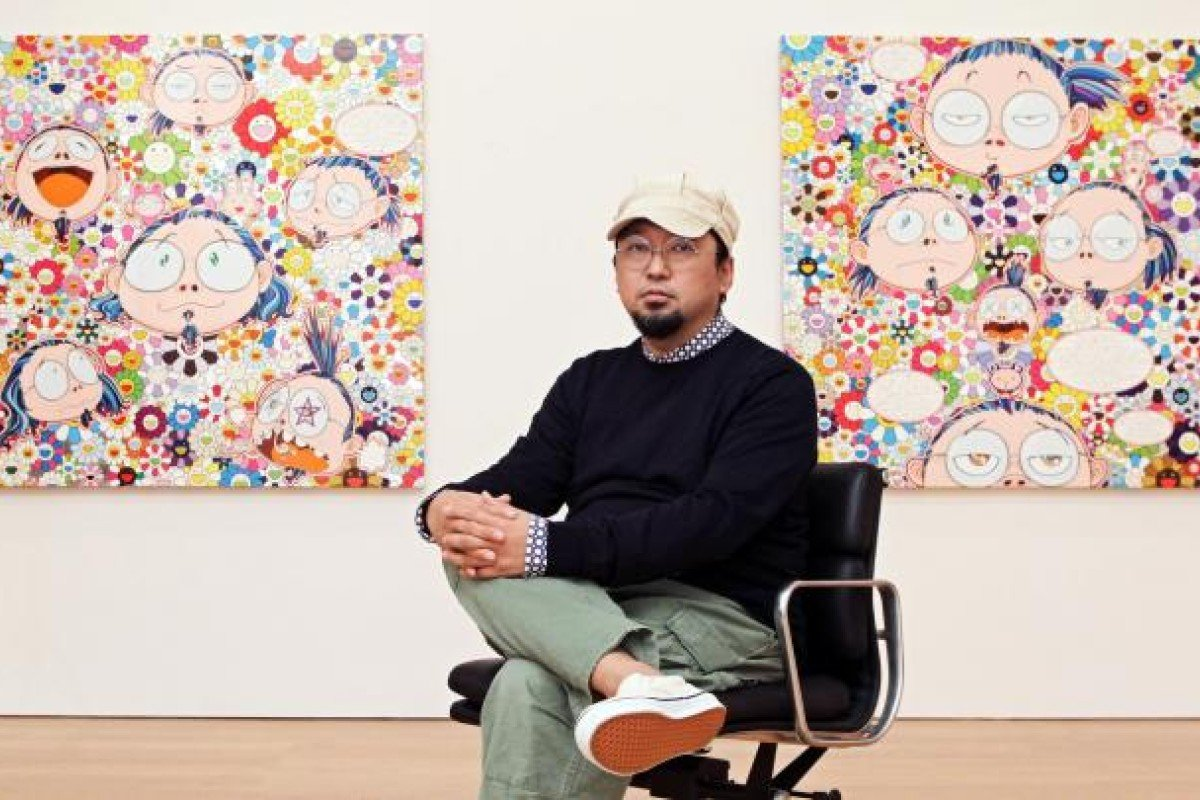 Takashi Murakami with some of his work in the Gagosian Gallery, Central. Photo: Edward Wong/© Takashi MurakamiKaikai Kiki Co., Ltd. All Rights Reserved.
