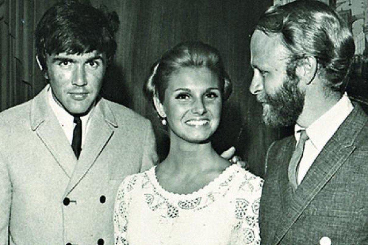 Hopkins (right) with his date, then Playboy playmate of the year Angela Dorian, and Dave Clark of the Dave Clark Five, in 1968. Photo: Courtesy of Jerry Hopkins