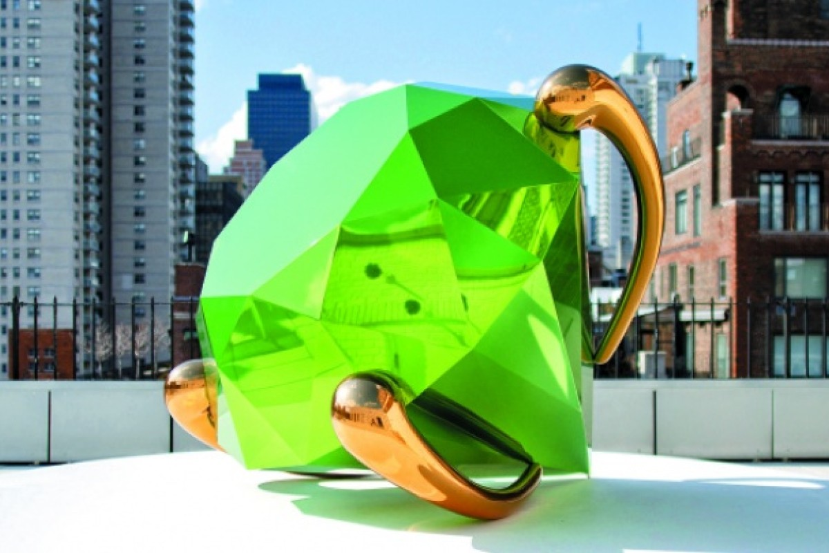 The outdoor terrace showcases Jeff Koons' Ring.