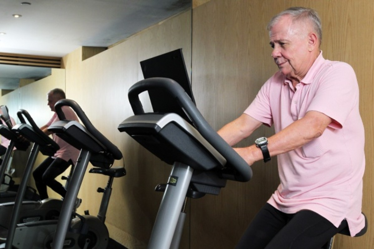 Jim Rogers in the Grand Hyatt's fitness centre. Photos: Edmond So; AFP