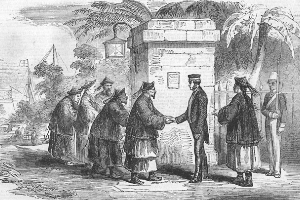 A drawing depicts British Consul at Canton Harry Parkes with the Co-Hong in 1857.