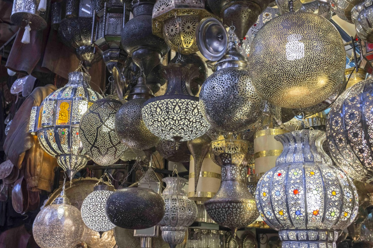Lamps for sale in a souk in Marrakesh