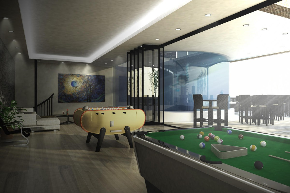 The indoor games room flows seamlessly into the outdoor space.