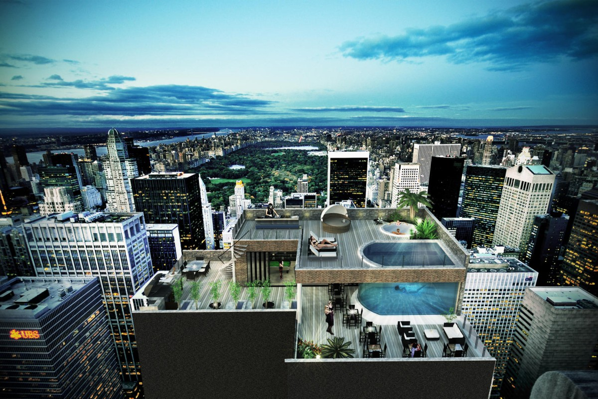 The rooftop terrace offers everything from a top-of-the-line grill to a glass-bottomed infinity pool where one can see the apartment below. There is also a jacuzzi, bar area and a garden.