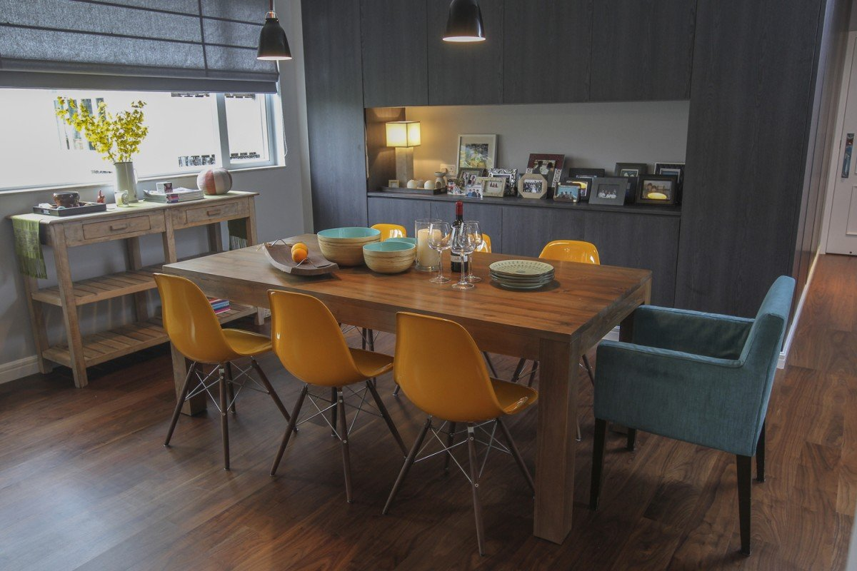 Dining room: The wall units (HK$33,925), which provide storage for everything from shoes to glasses, were designed and built by Le' Zang Creative. The dining table (HK$13,650) and Eames Eiffel side chairs (HK$1,950 each) were from Tree, as was the dresser, which was bought years ago. The Caravaggio steel pendant ceiling lights (HK$2,170 each), by Cecilie Manz, came from Manks (3/F, The Factory, 1 Yip Fat Street, Wong Chuk Hang, tel: 2522 2115). The blue chair is from Lisa Wong's old dining suite and was custom made by Casa Vogue (165 Queen's Road East, Wan Chai, tel: 2529 4841).