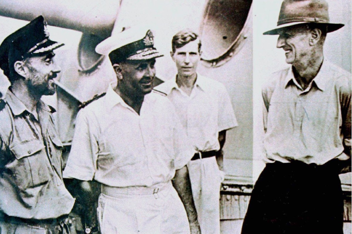 Admiral Cecil Harcourt (left) and Franklin Gimson (right) after the 1945 Japanese surrender of the Japanese in Hong Kong. Photos: Reuters; AP