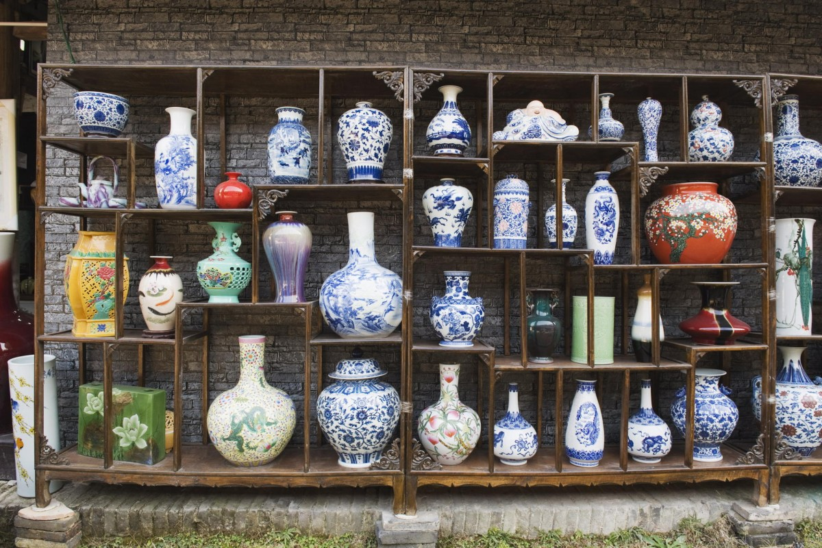 Vases for sale at the Qing and Ming Ancient Pottery Factory in Jingdezhen.