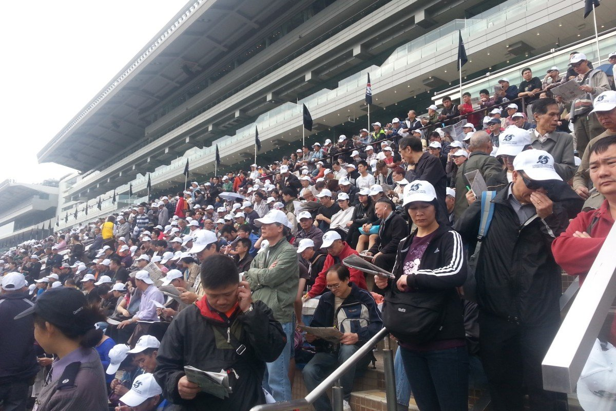 The crowd builds before the first race at Sha Tin, with everyone given white HKIR caps on arrival.