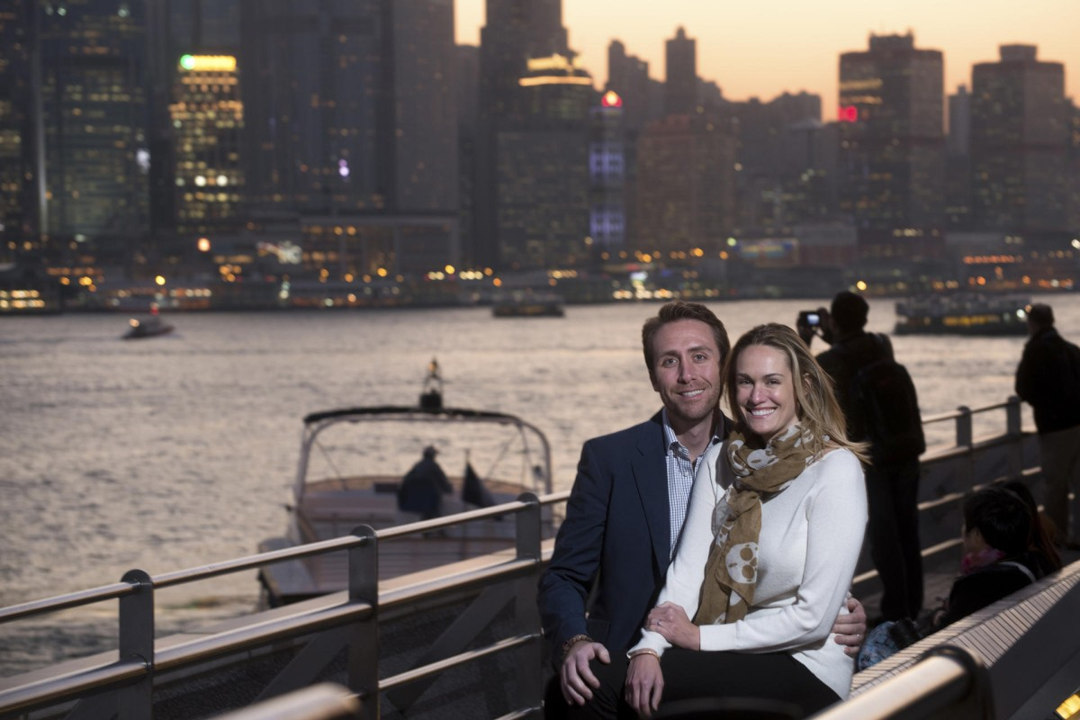Philippe Cousteau and Ashlan Gorse by Victoria Harbour.