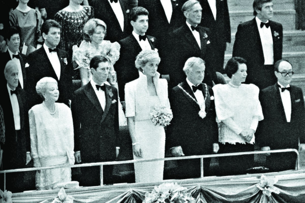 Britain's Prince Charles and Princess Diana attend a performance of the Hong Kong Philharmonic Orchestra at the opening of the Cultural Centre, in Tsim Sha Tsui, in November 1989.