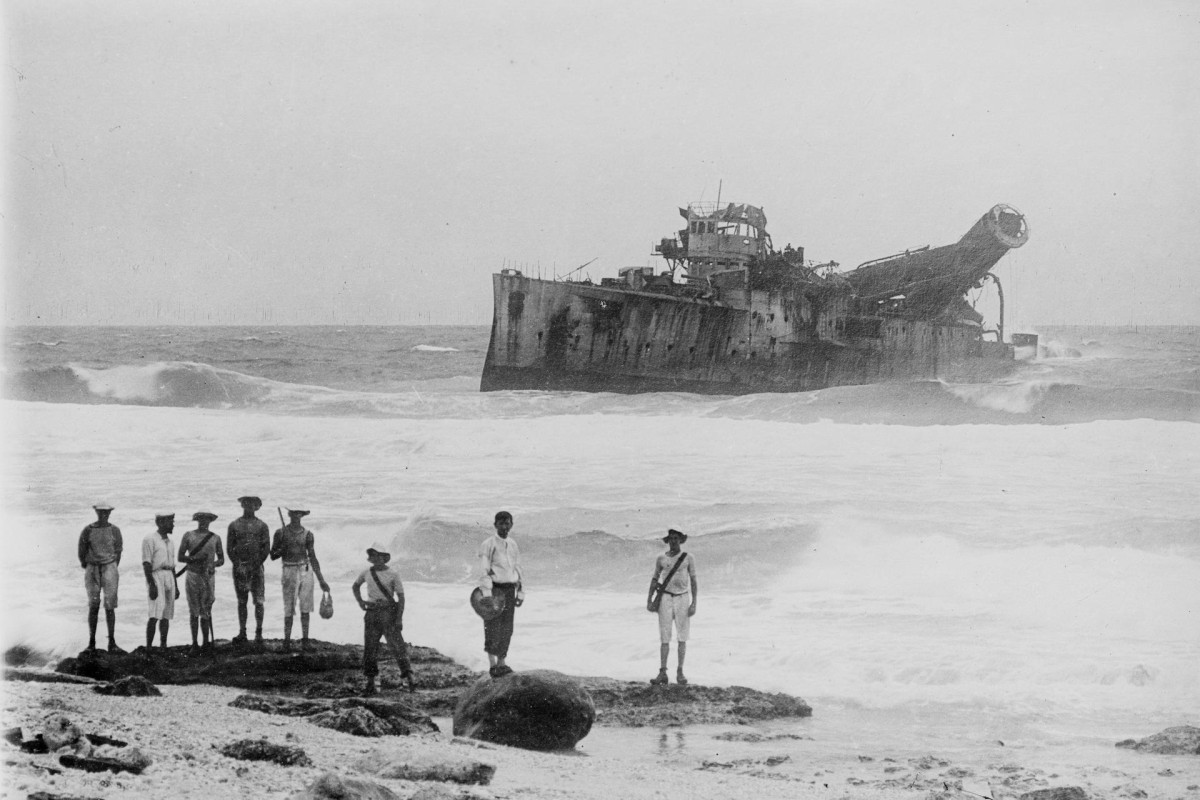 The wreck of SMS Emden, some years after the first world war, in the Cocos Islands. Photos: State Library of Victoria; Corbis; National Archives of Australia; Gwulo; AFP