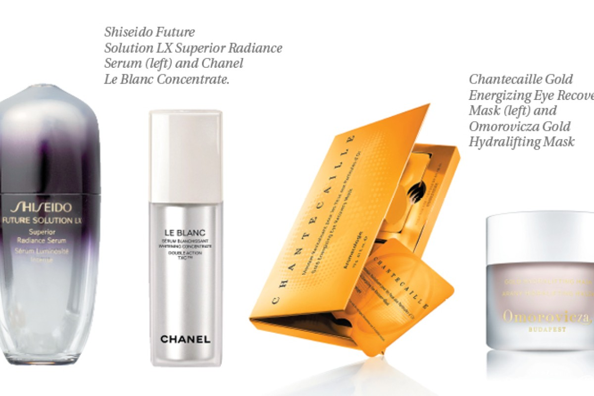 From left: Shiseido Future Solution LX Superior Radiance Serum, Chanel Le Blanc Concentrate, Chantecaille Gold Energizing Eye Recovery Mask and Omorovicza Gold Hydralifting Mask.