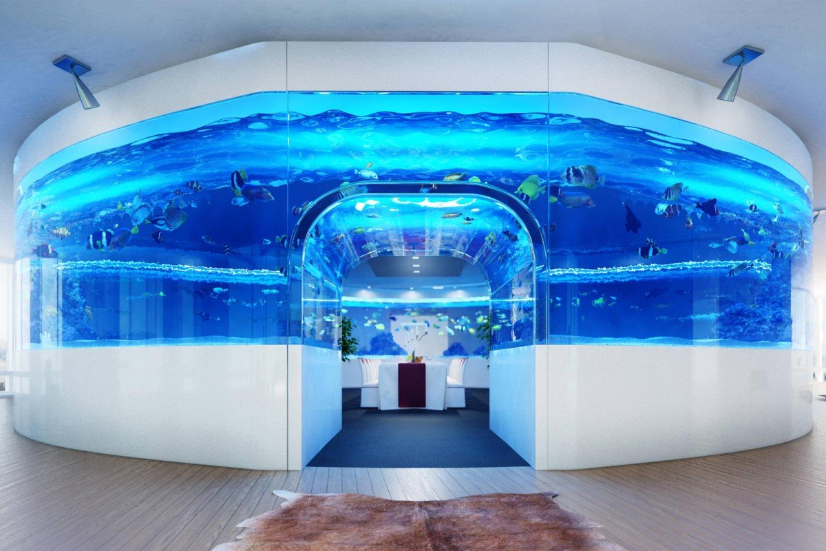 Fish tank in the floor - The Aquarium Is Designed With A Room Inside So The Owner Can Feel Like They Are