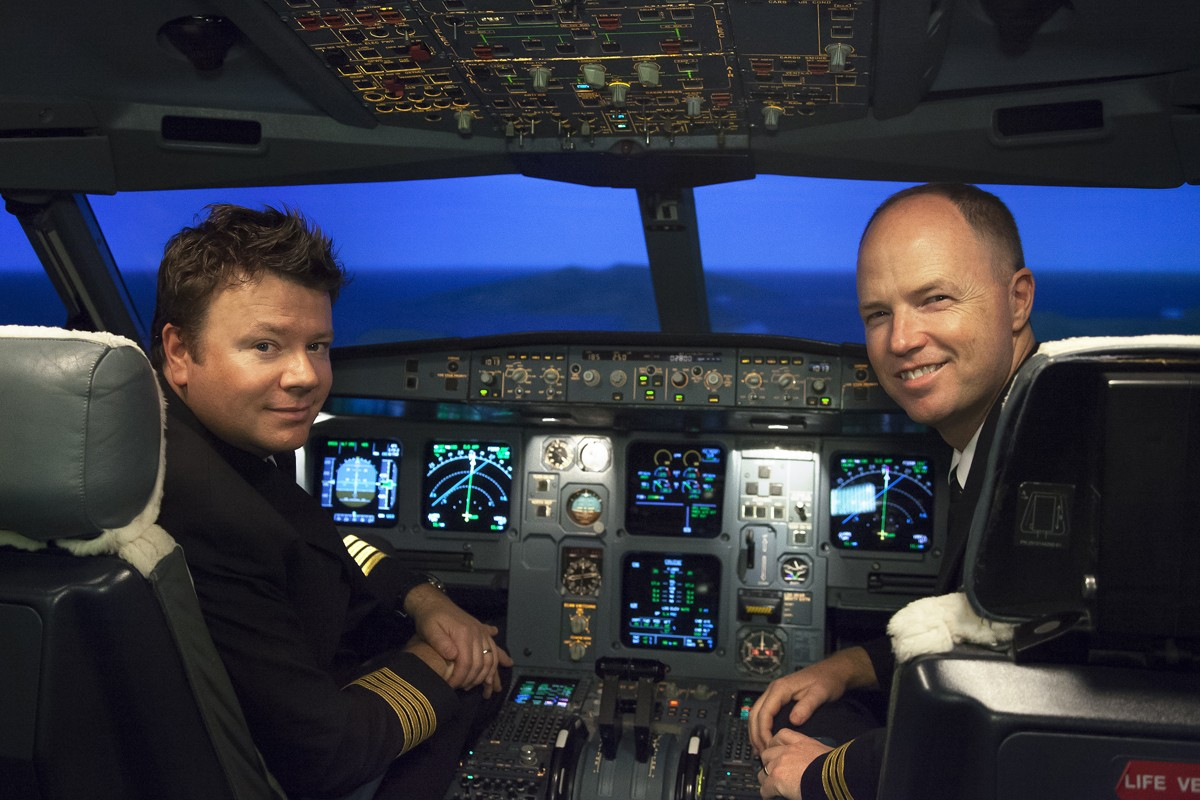 Captain Malcolm Waters (left) and First Officer David Hayhoe are reunited in the cockpit of an Airbus. Photos: Red Door News Hong Kong; AFP; Civil Aviation Department