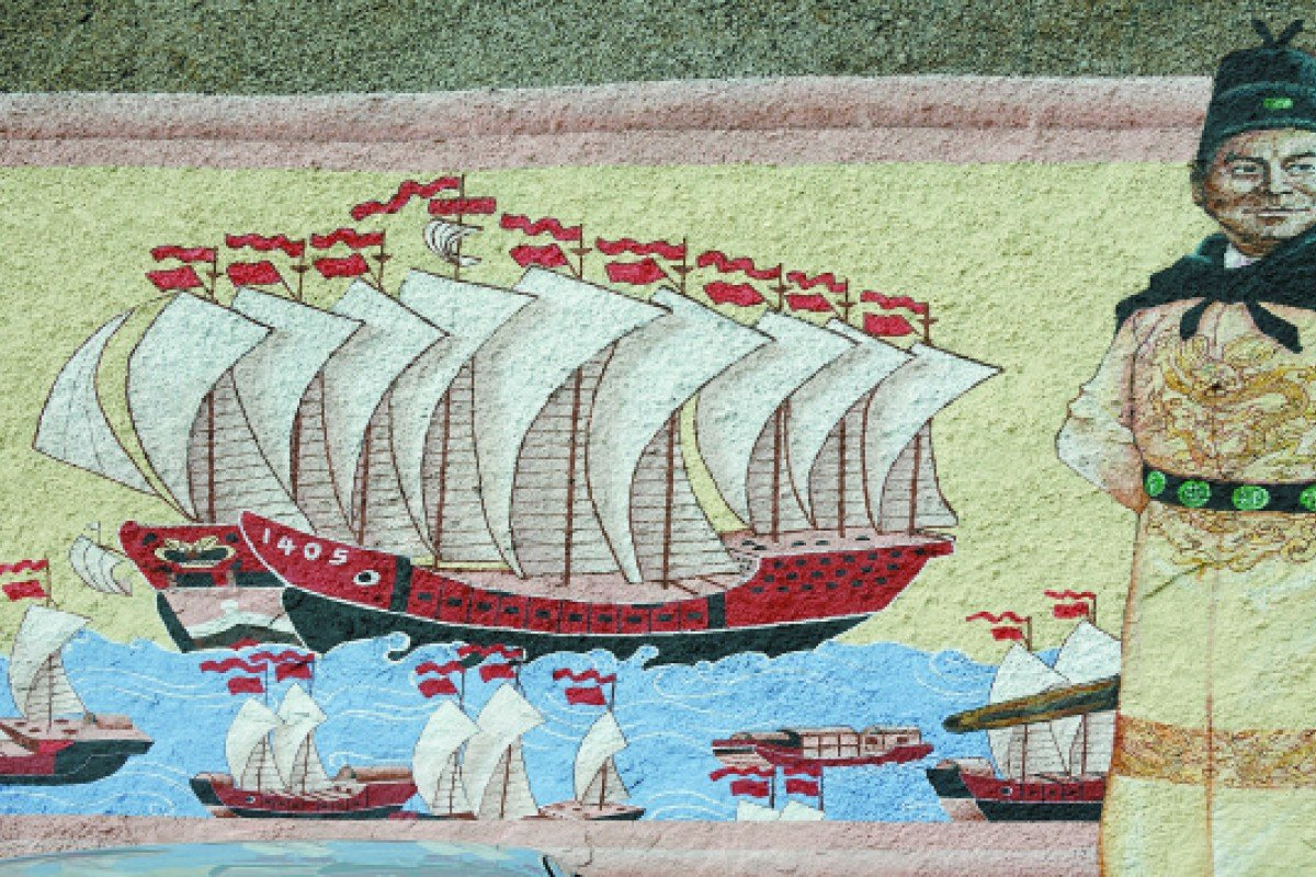 A painting depicting Chinese Admiral Zheng He, at a temple shrine in Penang.