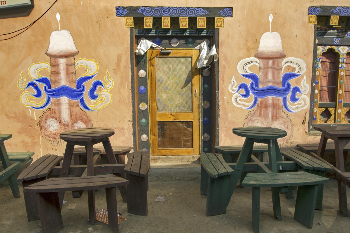 A tavern in Lobesa is decorated with giant phalluses.