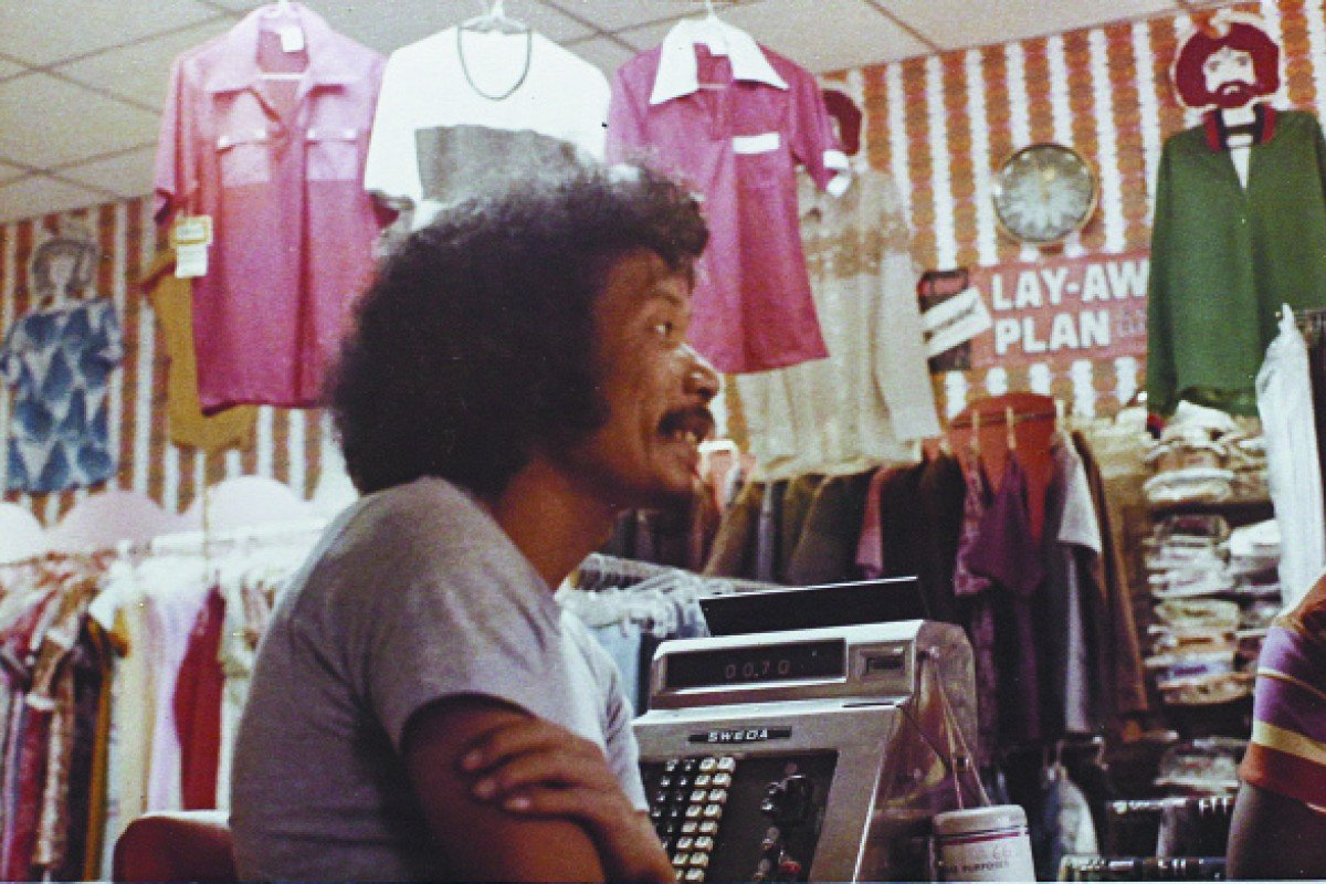 Lee in the family store in Kingston, Jamaica, in the early 1970s.