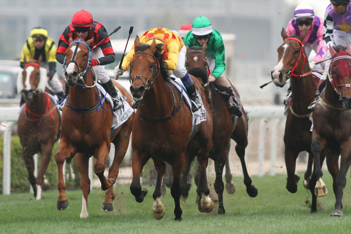 Akeed Mofeed races clear to win the Hong Kong Derby in March last year. Photo: Kenneth Chan