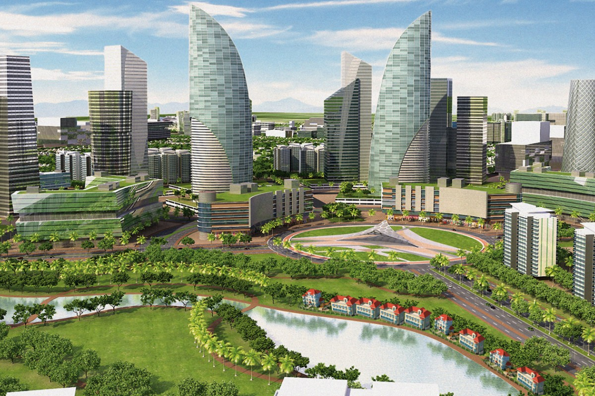 "An artist's impression shows Wave City in Ghaziabad, a ""smart city"" in India. Photos: Corbis; SCMP; Ayona Datta"