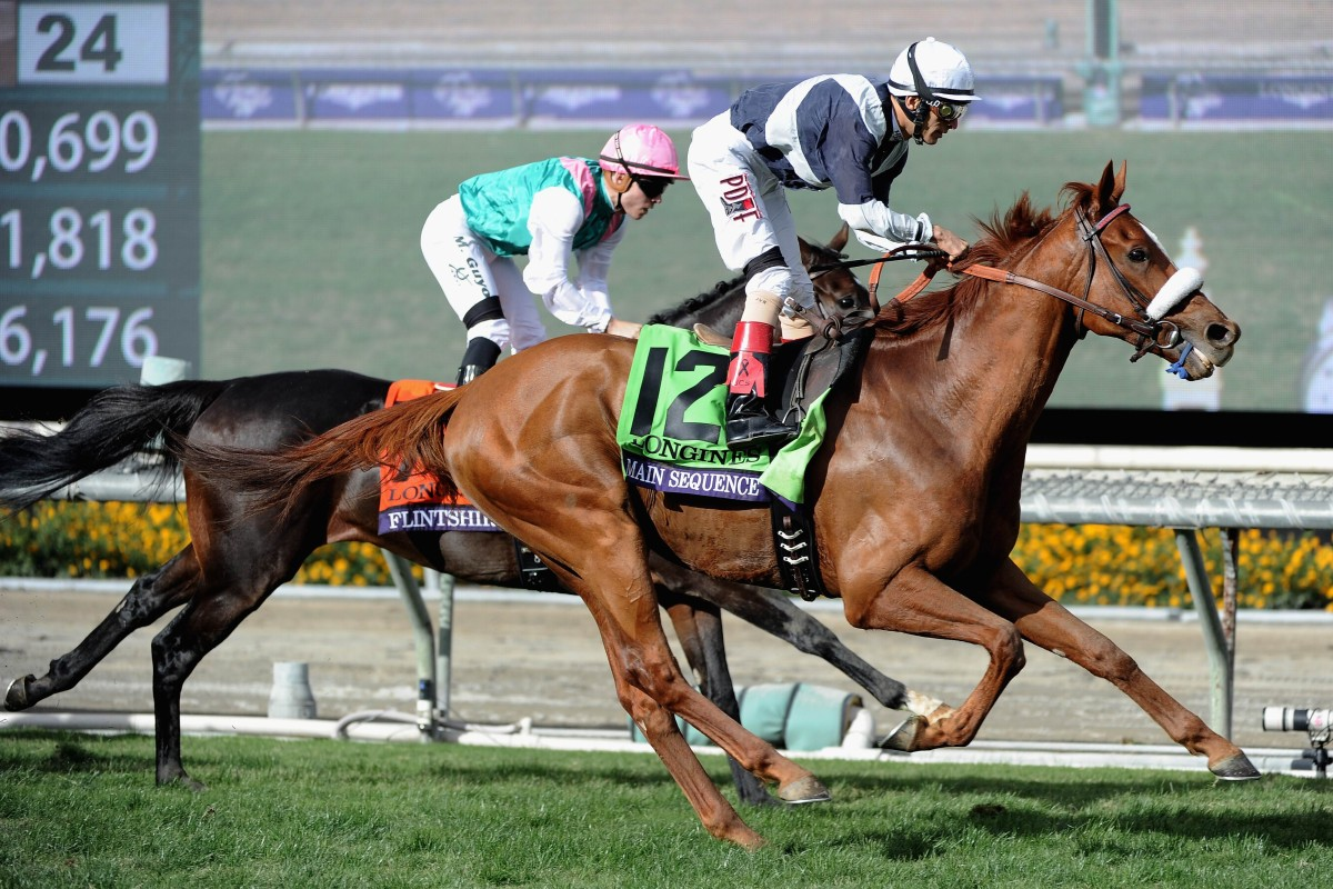 Main Sequence (John Velazquez) just holds Flintshire (Maxime Guyon) in the Breeders' Cup Turf. Photo: AFP/Getty Images