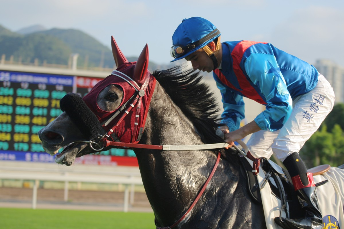 Joao Moreira brings Pablosky back to the winner's circle after his impressive dirt victory. Photo: Kenneth Chan