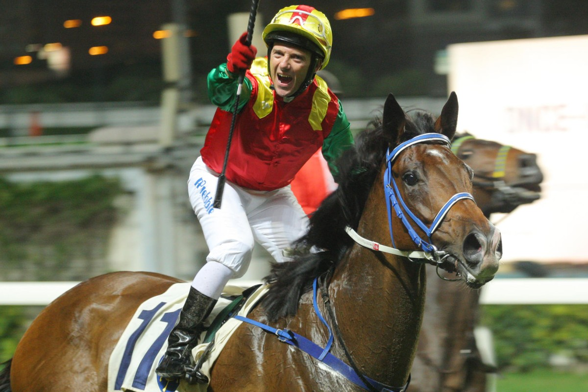 Brett Prebble is ecstatic after Jumbo Spirit wins race five at Happy Valley last night, delivering the rider a double. Photos: Kenneth Chan