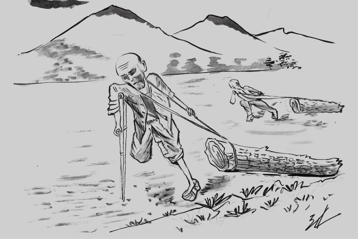 """North Korean defector Kwon Hyo-jin, who served seven years in Chongori prison, has produced a series of drawings illustrating life in the camp. The caption for the above work translates as, """"Even the blind and the lame have to do labour. Anyone who attempts to help them is entitled to a punishment. The handicapped man cries out, 'Log, let's move.'"""" Artwork: Kwon Hyo-jin"""