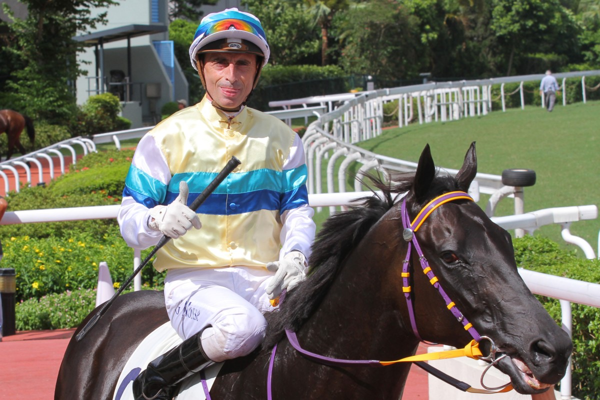 Gerald Mosse gives a thumbs-up after scoring an all-the-way win on Thor The Greatest. Photo: Kenneth Chan