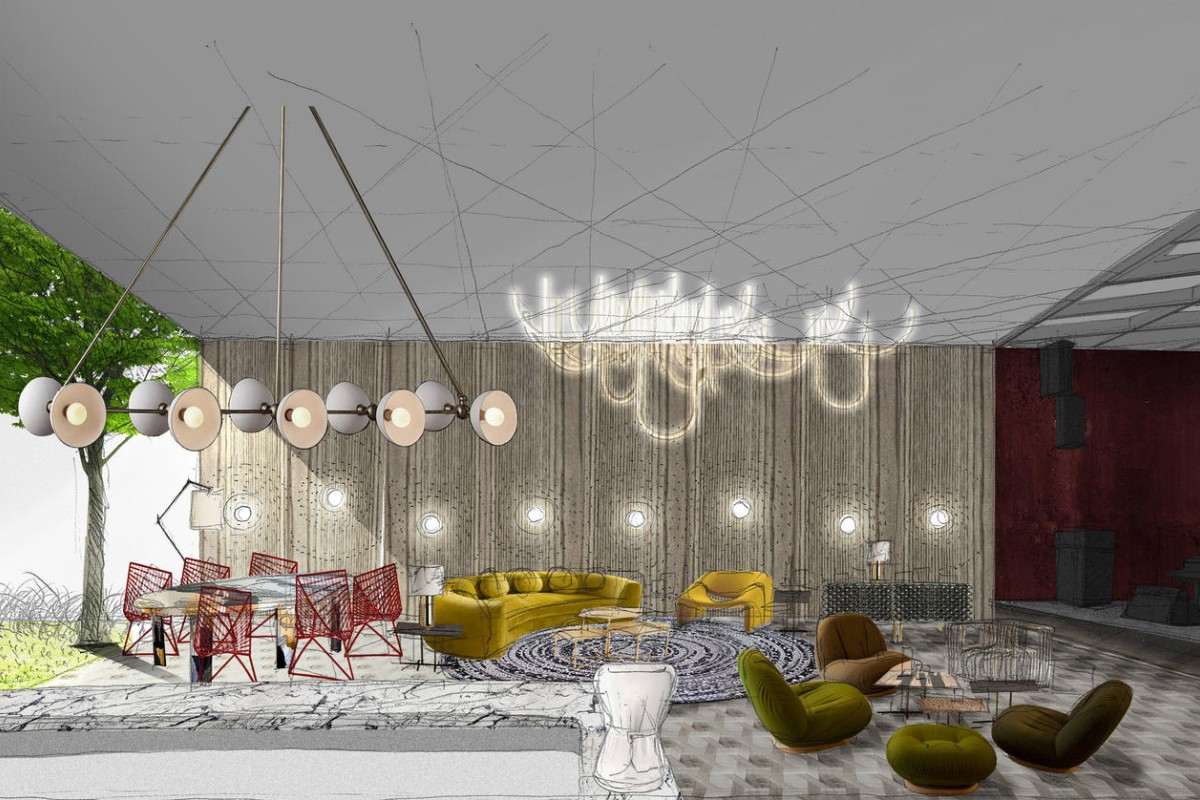 In the lounge, there are colourful furnishings, with rounded sofas and armchairs creating a contrast with cast bronze side tables and a stainless steel dining table. Illustrations: via.
