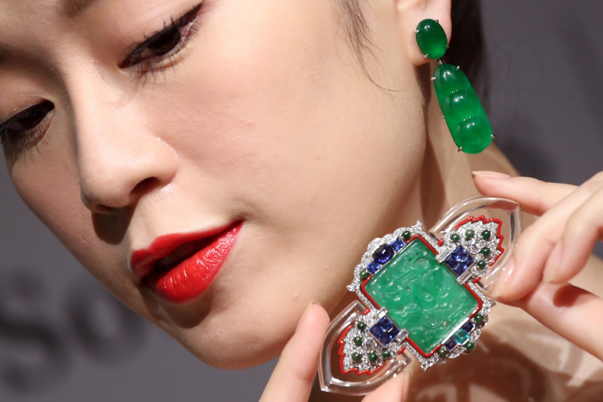 An art-deco jadeite, enamel, gem-set and diamond brooch from Cartier, circa 1927, is shown at a Sotheby's jewels and jadeite autumn sale media preview. Jadeite pieces can fetch high prices. Photo: K. Y. Cheng