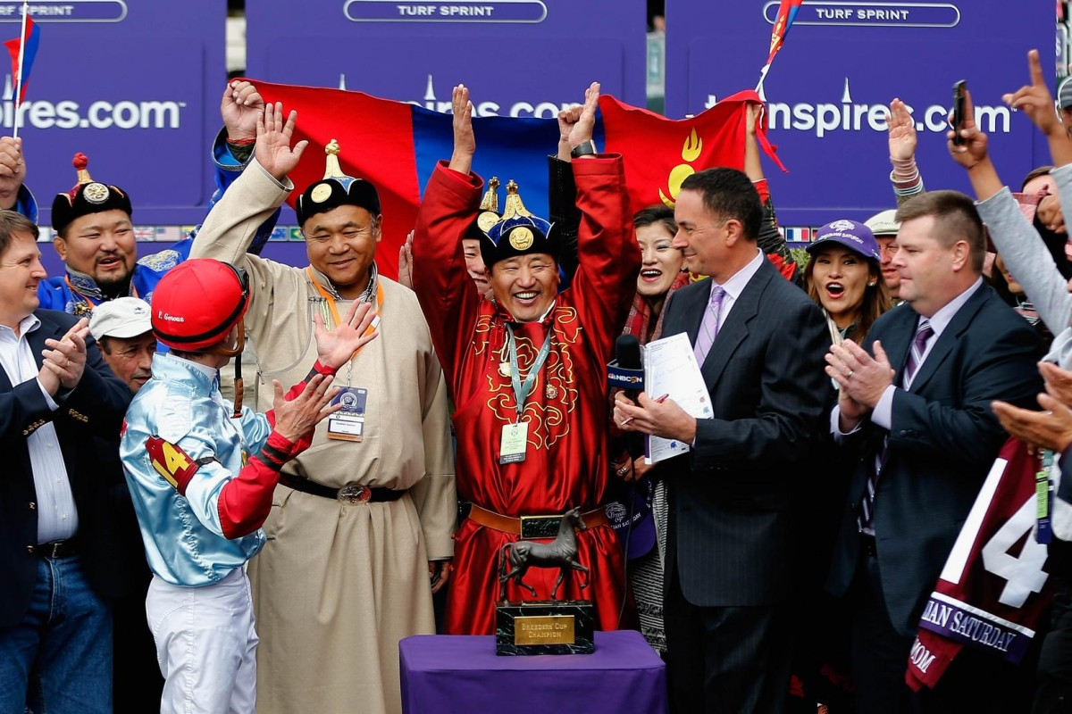 """Team Mongolia"" celebrate their shock win in the Breeders' Cup Turf Sprint at Keeneland in October. Trainer Ganbat Enebish and owner Ganbaatar Dagvadorj hope Mongolian Saturday can repeat the feat in Sunday's Hong Kong Sprint. Photo: AFP"