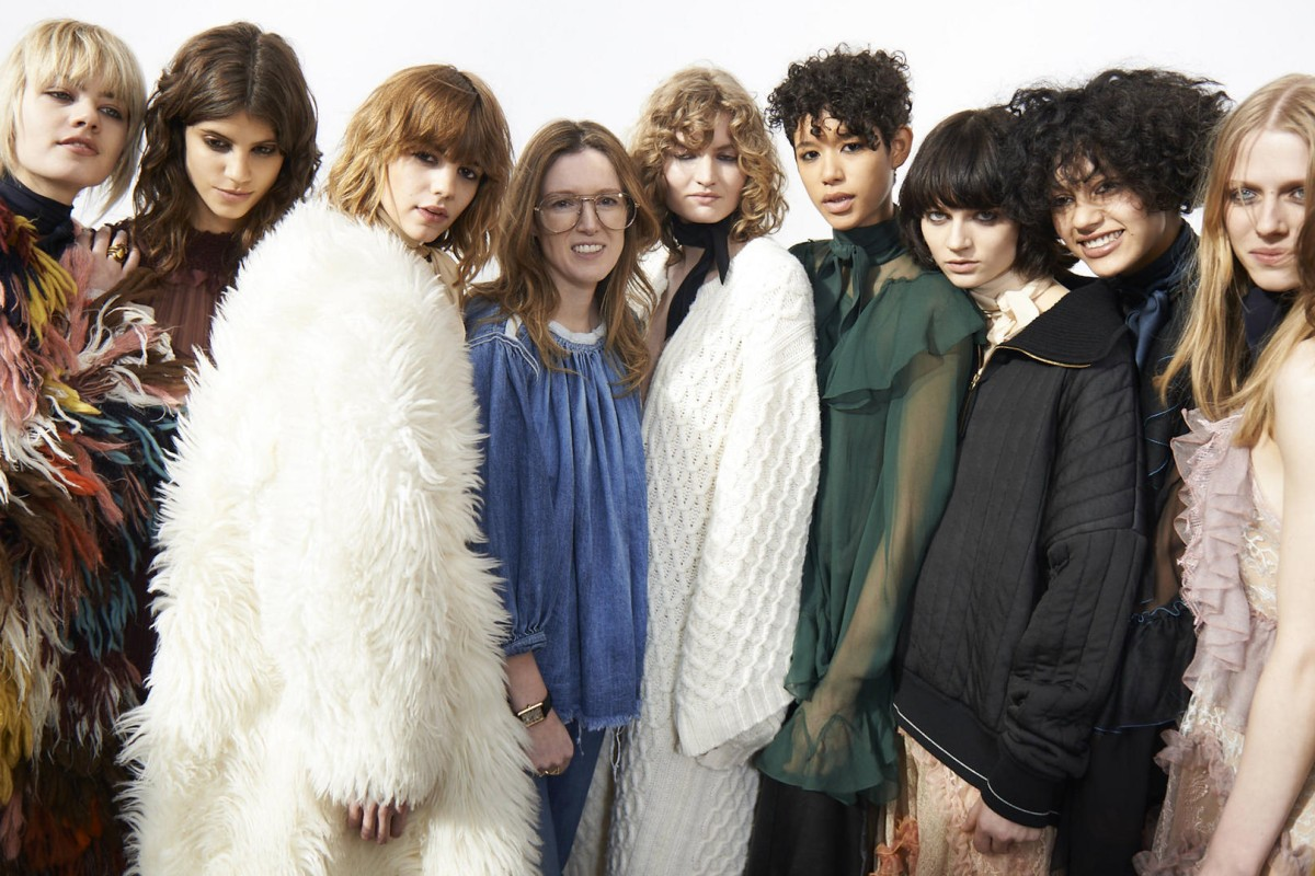 The designer (fourth from left) with models at Chloé's autumnwinter 2016 show in Paris this month. Photos: Raymond Aghion; Estate of Antonio Lopez and Juan Ramos; courtesy of Chloé