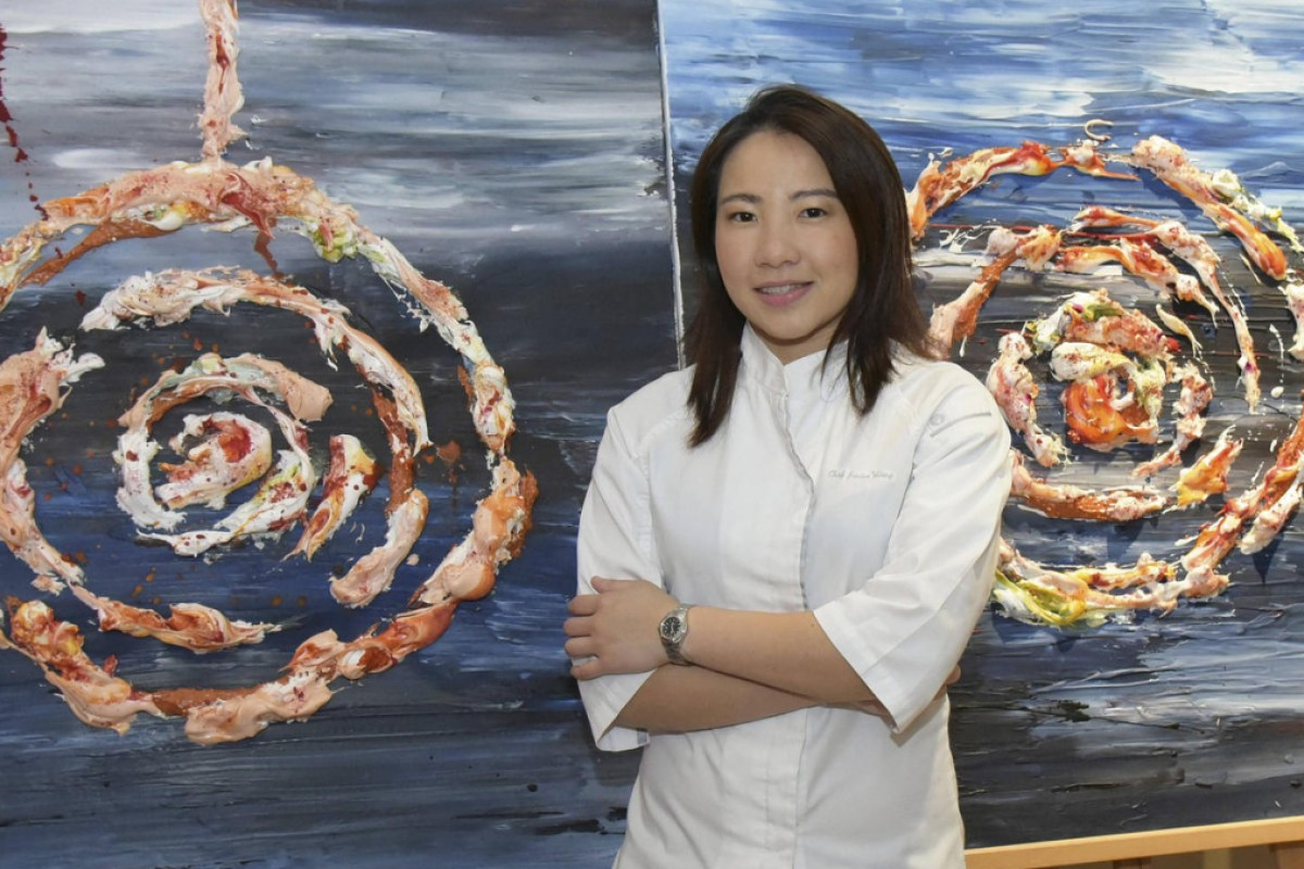 Janice Wong with one of her edible artworks, called Lollipop.